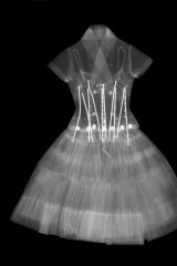 X-ray of the 1954 Zelie cocktail dress worn by Mrs Nat King Cole.