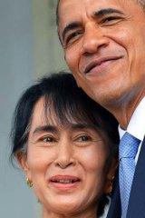 US President Barack Obama hugs Burma opposition leader Aung San Suu Kyi .