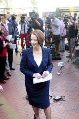 PM Julia Gillard at a Press Conference in Adelaide after Kevin Rudd resigned as Foreign Minister overnight in Washington D.C.