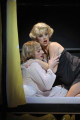 Whelan with Mitchell Butel in <i>Some Like It Hot</i>.