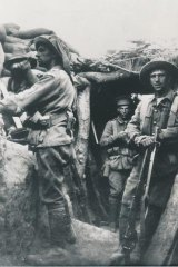 Australian soldiers in the trenches at Gallipoli.