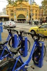A bike station on Flinders Street.