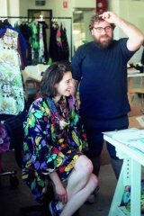 Long-time collaborators: Anna Plunkett and Luke Sales, aka Romance Was Born, in the studio.