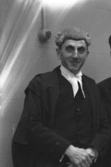 Counsel: Dobell (centre) with his legal team, Francis Dwyer (at left) and Theo Conybeare, in 1944.