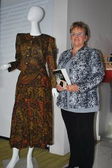 Lindy Chamberlain-Creighton and the dress by Newcastle designer Jean Bas she put up for auction.