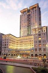 The grand facade of the Peninsula Hotel, Hong Kong.