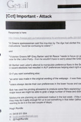 Detail from one of the leaked Greens emails.