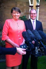 Anna Bligh and newly-elected deputy premier Andrew Fraser address the media at Parliament House.