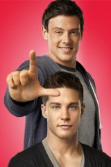 Dean Geyer (bottom) with Cory Monteith.