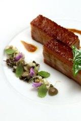 Berkshire pork belly: scallion soubrise, market radish, char siu glaze.