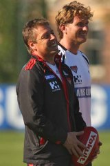 Mark Thompson with James Hird after he joined Essendon.