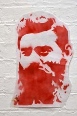 Physical graffiti … a 2003 stencil of Ned Kelly, by Regan Tamanui (also known as Ha-Ha), sold last year for $1100.