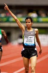 Morocco's Mariem Alaoui Selsouli reacts after winning the 3000m at the Diamon League meeting in Eugene, Oregon in June this year.