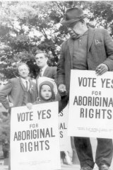 Activist Bill Onus taking part in an Aboriginal Rights march in Melbourne ahead of the 1967 referendum.
