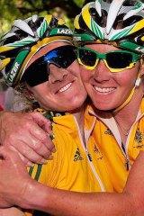 Rochelle Gilmore (R) hugs Chloe Hosking who took the bronze