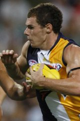 Luke Shuey in action against Port Adelaide during the NAB Cup.