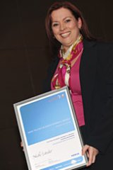 Nicole Lander with her Business Innovation Award.