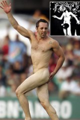 Bare facts . . . a streaker runs onto the pitch during the Test between Australia and the ICC World XI at the SCG in 2005 and inset, Michael O'Brien and that police helmet remain famous.