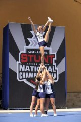Members of the Georgia Southern University Stunt Team at the college Stunt Championship in Daytona Beach.