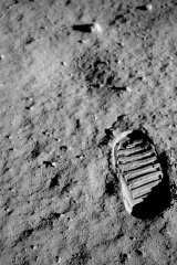 Buzz Aldrin's footprint on the moon.
