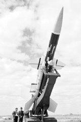 A Bloodhound missile at Woomera Range.