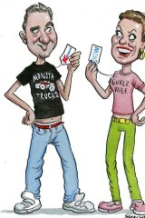 Fashion platters &#8230; Guy Russo and Julie Coates in their budget threads. <em>Illustration: John Shakespeare</em>