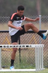 Happy wanderer … Rocky Visconte in training with his new club.
