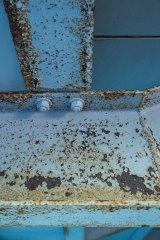 Rust on the steelwork inside the stadium.