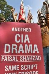 Anti-US... demonstrators in Karachi denounce the arrest of Falsai Shahzad.