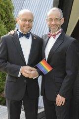 Michael Barnett (left) and Gregory Storer on their wedding day.