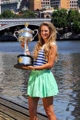 No. 1 … Azarenka with her Open trophy.