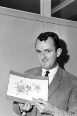 ''You've got to be very diplomatic'' ... Tom Gillies with his Art Gallery Ball sketches in the offices of Fairfax in 1965.