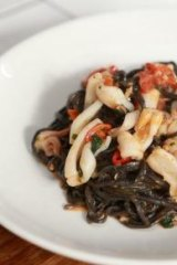 The squid ink tagliolini at Mess Hall.
