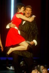 An exuberant Missy Higgins receives her ARIA award from David Hasselhoff in 2005.