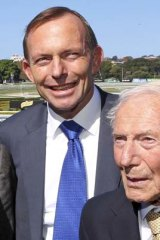 Day out: Tony Abbott with his father Richard at Randwick.