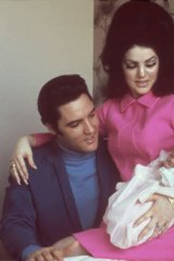 Lisa Marie Presley as a newborn in 1968 with her parents, Elvis and Priscilla.