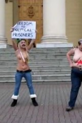 Femen protesters on the steps of the Belarus KGB headquarters in Minsk last month.