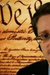 Edward Snowden on a video link from Russia in March.