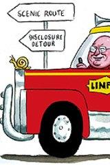 Lindsay Fox ... no danger of being booked for speeding. Illustration by John Shakespeare.