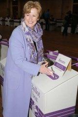 Greens leader Christine Milne votes in Hobart.