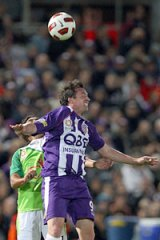 Sign of things to come... Glory star recruit Robbie Fowler contests the ball against David Williams of the Fury.
