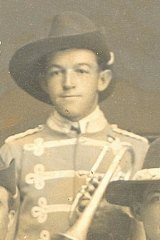 Gallipoli Trumpeter Ted McMahon as a young man who was in the Boulder City Brass Band which was directed by his uncle Hugh McMahon, who was known the emperor of the cornet.