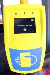 One of the myki ticket dispensers trialled on Geelong buses last week.