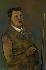 Fred Williams 'Self portrait at easel'. Oil on composition board, 1998.