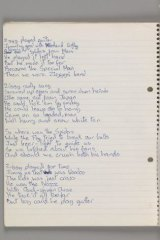 Original lyrics for Ziggy Stardust, by David Bowie, 1972.