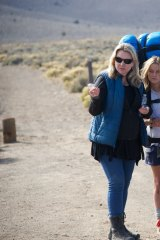 Wild side: Strayed with Reese Witherspoon on the set of <i>Wild</i>.