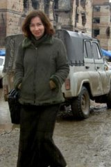 Fearless critic of Chechen proxies...Natalya Estemirova in Grozny in 2004. She was abducted outside her home and later killed.