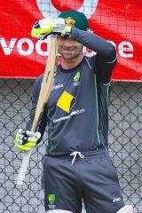 Recalled Australian batsman Phillip Hughes in the nets yesterday.