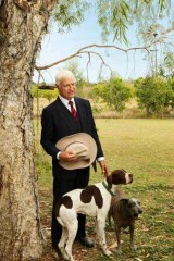 Bob Katter relaxes at home with his dogs Bertie and Jack. <i>Picture: Michael Chambers</i>