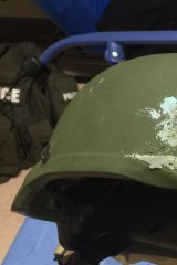 The helmet an officer in Orlando police department was wearing when responding to the shooting.